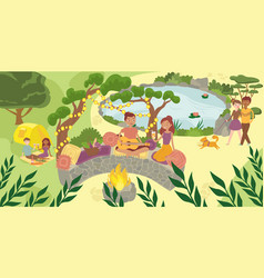 Character male female picnic in national park vector