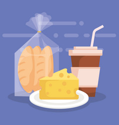 Cheese with bread bag and coffee vector