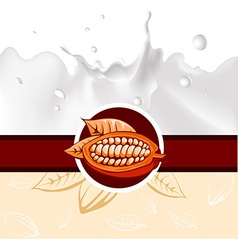 Cocoa bean design with milk splash - vector