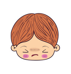 colorful caricature kawaii face little boy with vector image