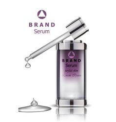 Cosmetics set realistic packaging serum vector