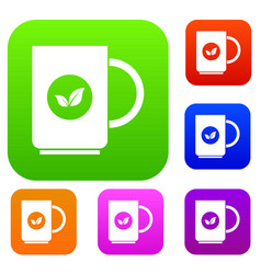 Cup of tea set collection vector