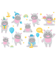 cute adorable hippo in different situations set vector image