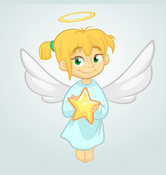 cute christmas angel holding a star vector image