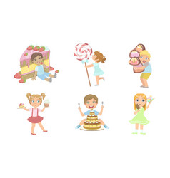cute kids with sweet desserts set smiling boys vector image