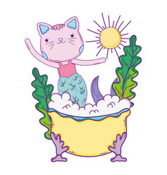 cute purrmaid in bathtub vector image