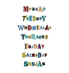 Days of the week on colorful shapes vector