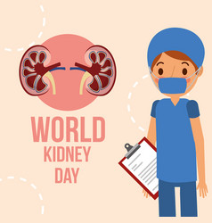 Doctor surgeon professional world kidney day vector
