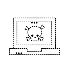Dotted shape dancer skull bones caution inside vector