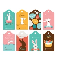 Easter tag collection with bunnies and Easter eggs vector image vector image