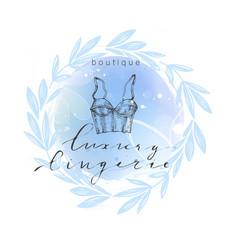 emblem woman lingerie theme with lettering vector image