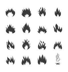 fire flames or burning symbols set black vector image