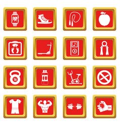 Fitness icons set red vector
