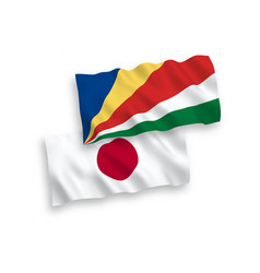 Flags japan and seychelles on a white vector