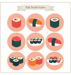 Flat Big Sushi Set Circle Icons vector image
