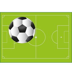 Football ball on background with pitch vector