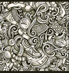 football hand drawn doodles seamless vector image