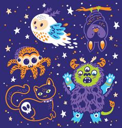 funny halloween collection cartoon animals vector image