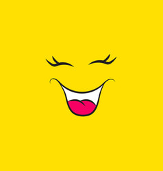 funny smiley face icon on yellow background vector image
