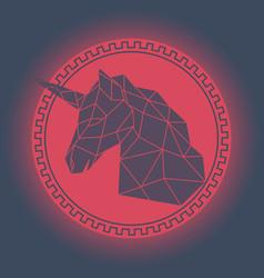 Geometric unicorn head antique style vector