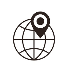 Globe and map pin icon vector image