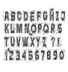 grunge dirty alphabet letters and numbers set vector image