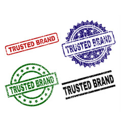grunge textured trusted brand stamp seals vector image