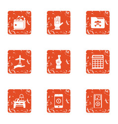 Hack icons set grunge style vector