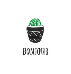 Hand drawn cacti with french quotes vector