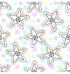 hand drawn stars seamless pattern kids background vector image