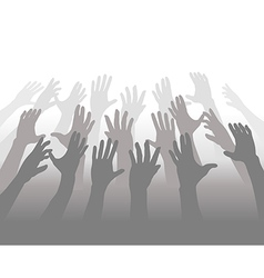 Hands of Crowd of People Reach for Copyspace vector image