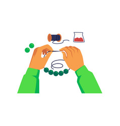 Hands string a bead on thread and making jewelry vector