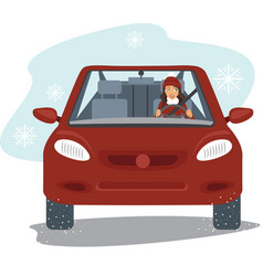 Happy young woman driving the red car vector