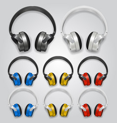 Headphones set color vector