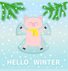 Hello winter pig laying on back making snow angel vector