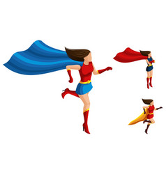 Isometrics superhero girls in different suits vector