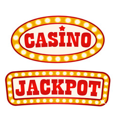 jackpot and casino signboards retro style vintage vector image