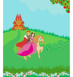 King and queen infront palace vector