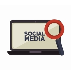 laptop search social media isolated icon design vector image