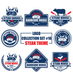 Logo collection set with steak theme vector