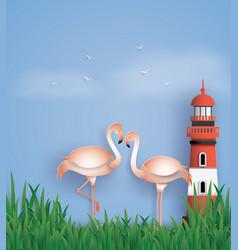 Love birds flamingos stand on the beach vector