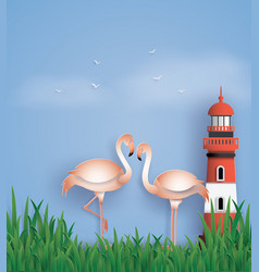 love birds flamingos stand on the beach vector image