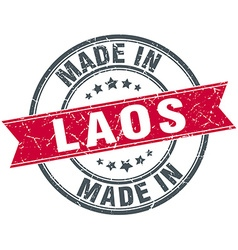 Made in Laos red round vintage stamp vector