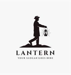 man holding lantern to lead way vintage logo vector image