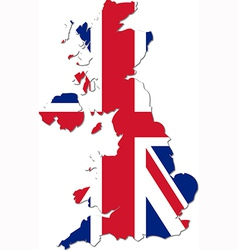 Map uk with national flag vector