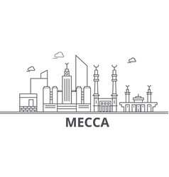 Mecca architecture line skyline vector