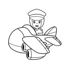 Moslem girl - pilot art line vector