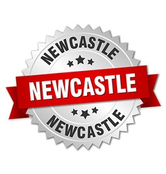 Newcastle round silver badge with red ribbon vector