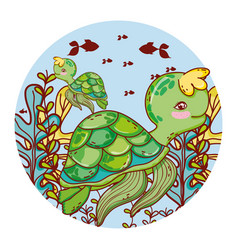 Nice turtle couple with seaweed animals vector