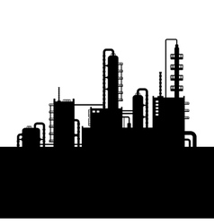 Oil Refinery Plant and Chemical Factory Silhouette vector image